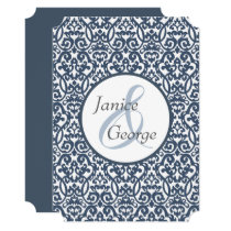 Blue and White Damask Wedding Invitation