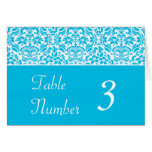 Blue and White Damask Wedding Table Number Cards Cards