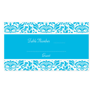 Blue and White Damask Wedding Table Place Cards Business Cards