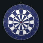 "Blue and White Dartboard With Darts<br><div class=""desc"">Navy blue and white colored dart board.</div>"
