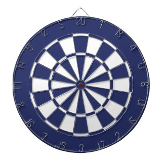 Blue and White Dartboard With Darts