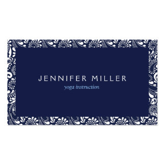 BLUE AND WHITE DECORATIVE BORDER BUSINESS CARD