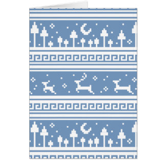 Blue And White Deer Family Moonlit Forest Greeting Card