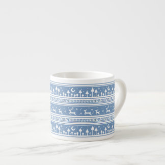 Blue And White Deer Family Moonlit Forest Espresso Cup