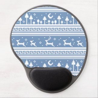Blue And White Deer Family Moonlit Forest Gel Mouse Pads