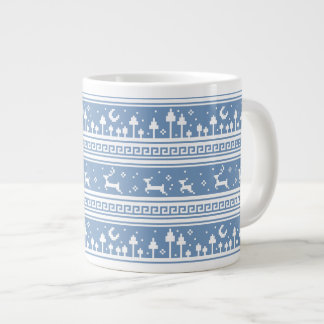 Blue And White Deer Family Moonlit Forest Giant Coffee Mug
