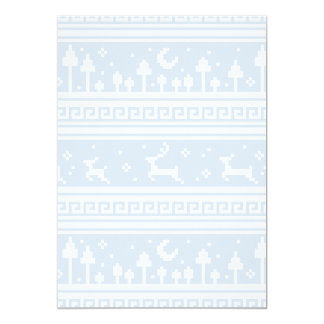 Blue And White Deer Family Moonlit Forest 5x7 Paper Invitation Card