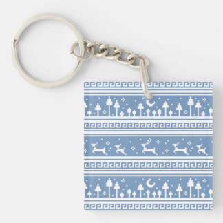Blue And White Deer Family Moonlit Forest Keychain