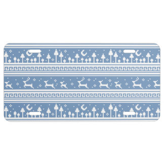 Blue And White Deer Family Moonlit Forest License Plate
