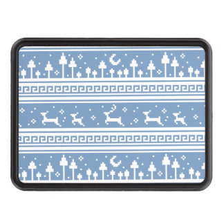Blue And White Deer Family Moonlit Forest Trailer Hitch Covers