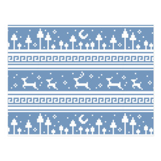 Blue And White Deer Family Moonlit Forest Postcard