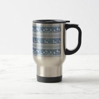 Blue And White Deer Family Moonlit Forest Travel Mug