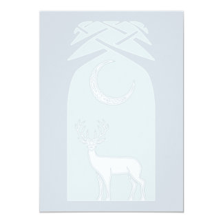 Blue And White Deer In The Forest Celtic Art 5x7 Paper Invitation Card