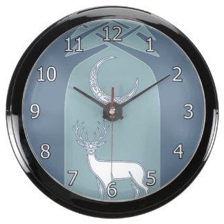 Blue And White Deer In The Forest Celtic Art Aquarium Clocks