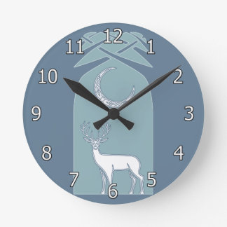 Blue And White Deer In The Forest Celtic Art Round Wall Clock