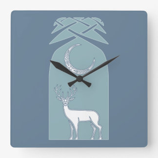 Blue And White Deer In The Forest Celtic Art Wall Clocks