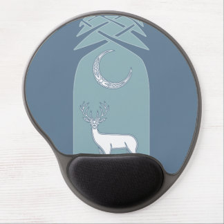 Blue And White Deer In The Forest Celtic Art Gel Mouse Pad