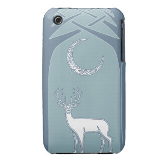 Blue And White Deer In The Forest Celtic Art iPhone 3 Case