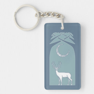 Blue And White Deer In The Forest Celtic Art Double-Sided Rectangular Acrylic Keychain