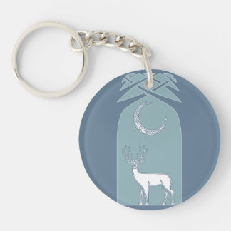 Blue And White Deer In The Forest Celtic Art Keychain