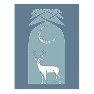 Blue And White Deer In The Forest Celtic Art Postcard
