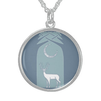 Blue And White Deer In The Forest Celtic Art Round Pendant Necklace