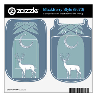 Blue And White Deer In The Forest Celtic Art Skin For The BlackBerry