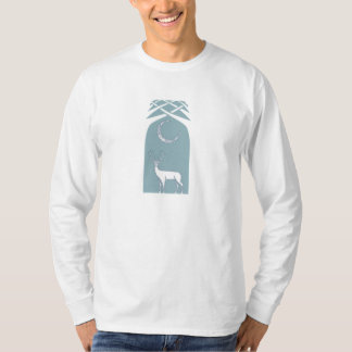 Blue And White Deer In The Forest Celtic Art T Shirt