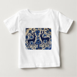 Blue and White Deer Stag Vintage Tile Baby T-Shirt