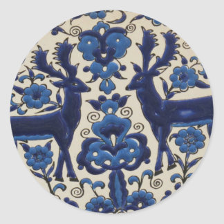 Blue and White Deer Stag Vintage Tile Classic Round Sticker
