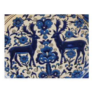 Blue and White Deer Stag Vintage Tile Postcard