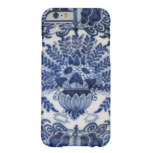 Blue and White Delft Dutch Peacock Flowers iPhone 6 Case