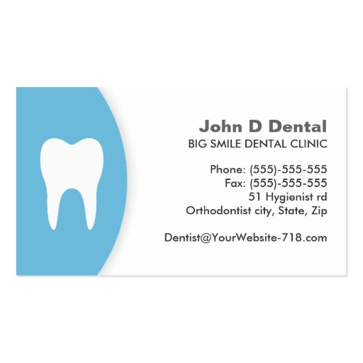 Blue and white dental dentist business card