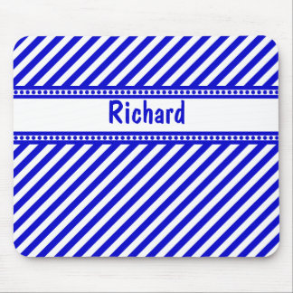 Blue and White Diagonal Stripes Mouse Pad