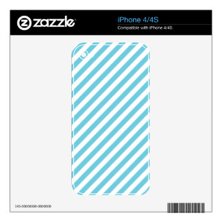Blue and White Diagonal Stripes Pattern iPhone 4S Skin