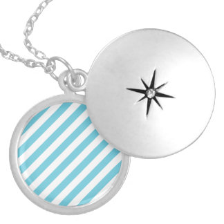 Blue and White Diagonal Stripes Pattern Locket Necklace