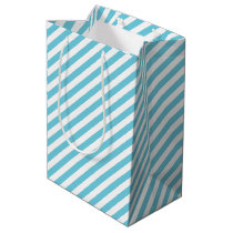 Blue and White Diagonal Stripes Pattern Medium Gift Bag