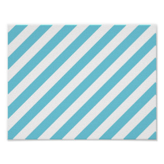 Blue and White Diagonal Stripes Pattern Poster