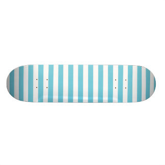 Blue and White Diagonal Stripes Pattern Skateboard