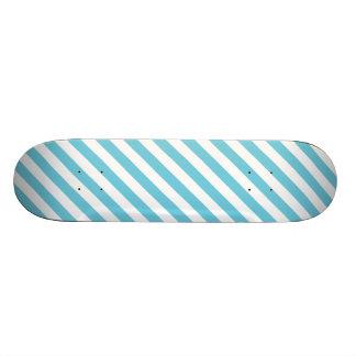 Blue and White Diagonal Stripes Pattern Skateboard Deck