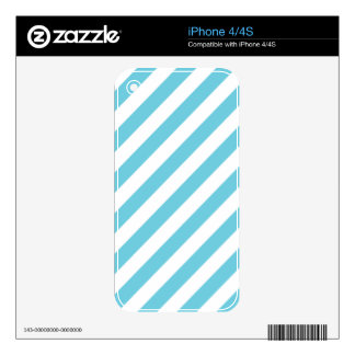 Blue and White Diagonal Stripes Pattern Skin For The iPhone 4S