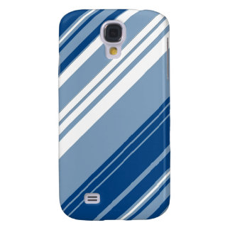 Blue and white diagonal stripes samsung galaxy s4 case
