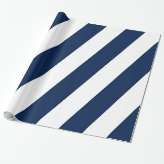 Blue and White Diagonal Stripes Wrapping Paper