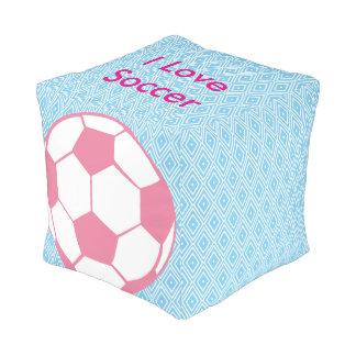 Blue and White Diamond I Love Soccer Pouf