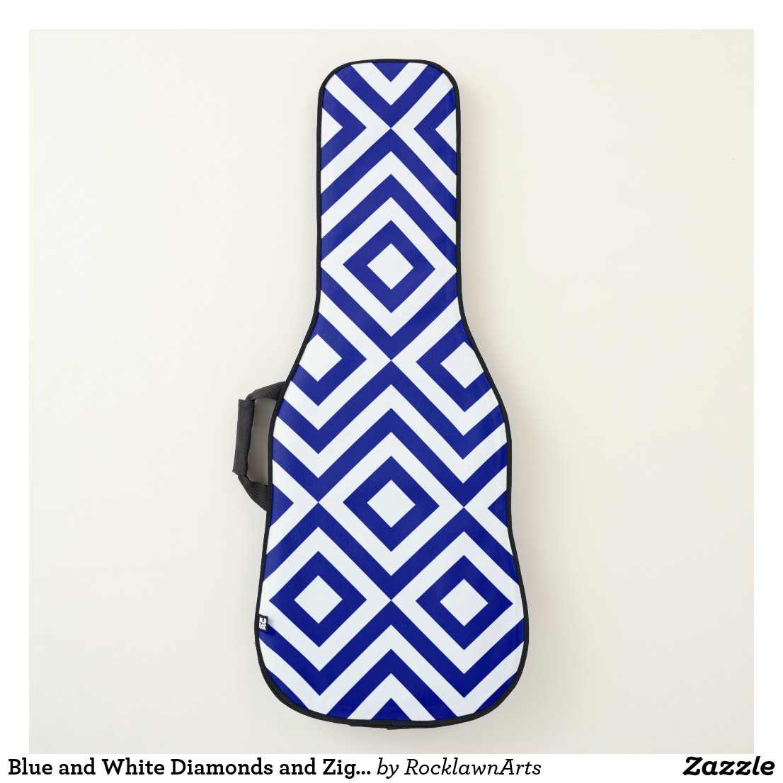 Blue and White Diamonds and Zigzags Guitar Case
