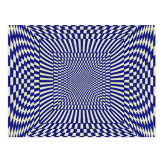 Blue and White Distorted Checkered Pattern Postcard