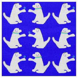 Blue and white dog Hanukkah fabric