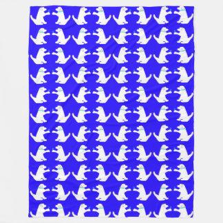 Blue and white dog Hanukkah fleece blanket