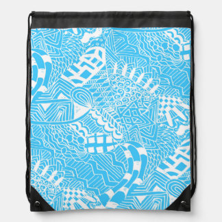 Blue and White Doodle Backpack