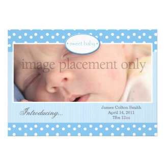 Blue and White Dots Horizontal Birth Announcement